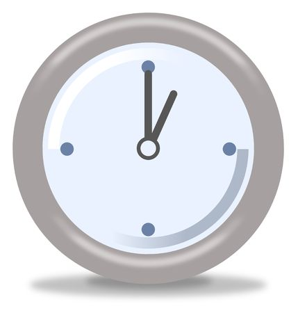 Silver and blue clock on white background showing one