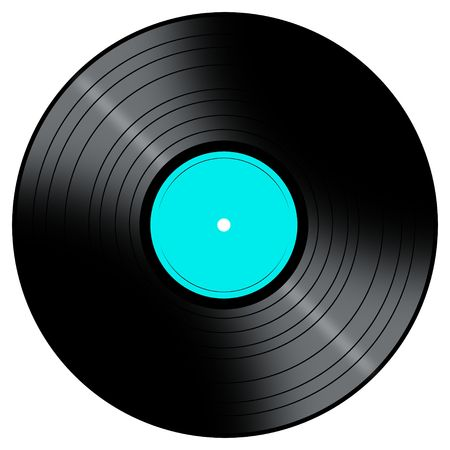 disk jockey: Vinyl Record with a color center on a white background.