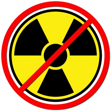 no nuclear: Yellow sign against radiation on white background. Stock Photo
