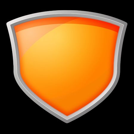 Orange shield with silver frame on black background photo