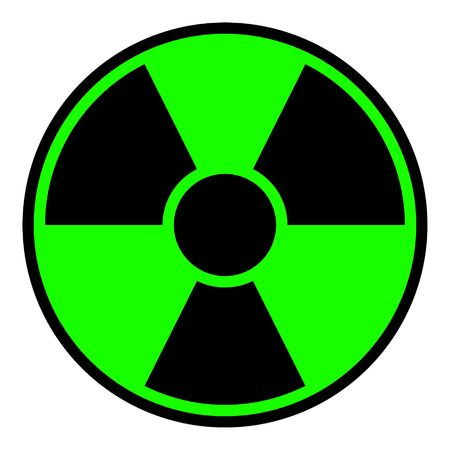 toxic substance: Round radiation warning sign on white background