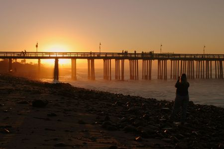The Ventura pier at sunrise at the beach. Stock Photo