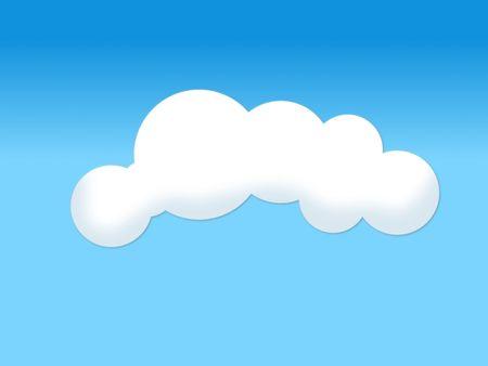 clouded sky: Soft white cloud illustration on blue background