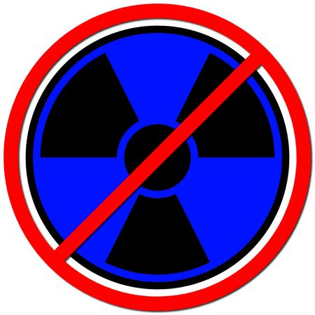 anti nuclear: Blue sign against radiation on white background.