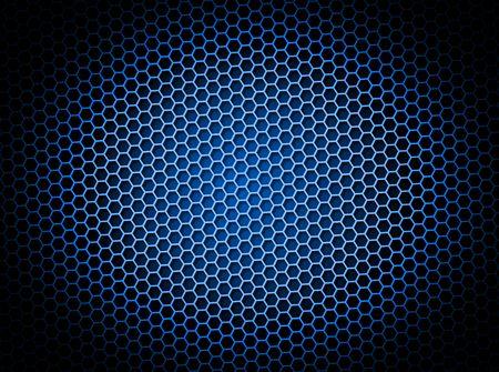 Blauwe honing raat achtergrond 3d illustratie of achtergrond met licht effect