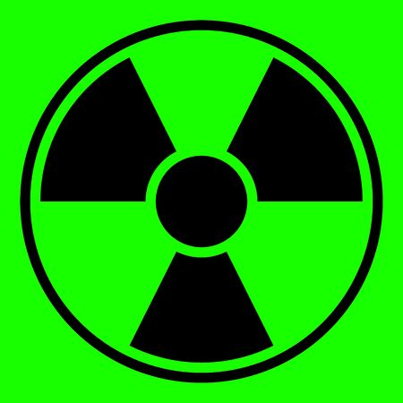 uranium: Round radiation warning sign on green background
