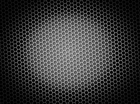 grid: Black and white honeycomb background 3d illustration or backdrop with light effect Stock Photo
