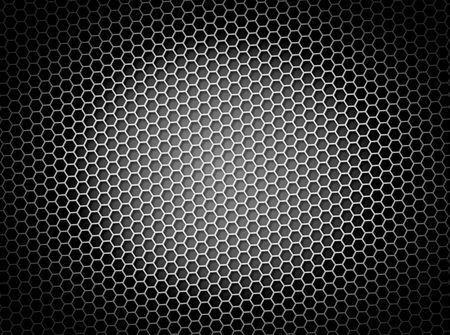 Zwart en wit honingraat achtergrond 3d illustratie of achtergrond met licht effect