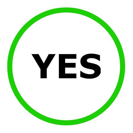 Green yes sign on white background