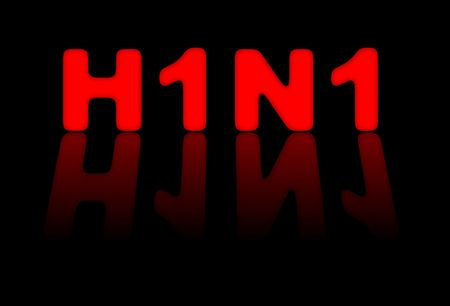 Red sign for H1N1 or swine flu on black background photo