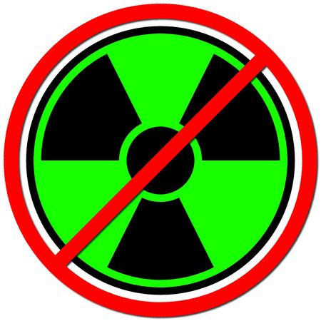no nuclear: Green sign against radiation on white background.