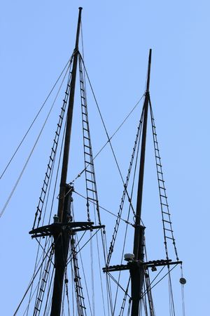 rigging of a sail boat with the blue sky in the background Stock Photo - 5613611
