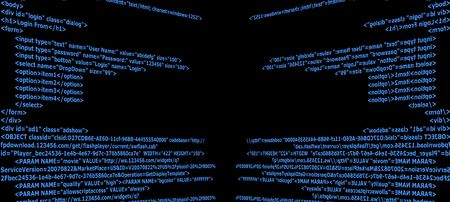 html: Blue Html code text with black background
