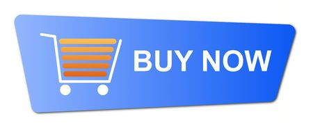 Buy now button with a shopping cart on white background. photo