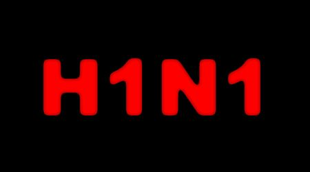 pandemic: Red sign for H1N1 or swine flu on black background