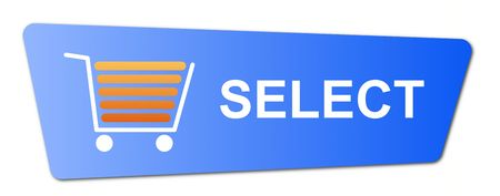 Blue select button with a shopping cart on white background. Stock Photo
