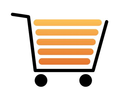Black shopping cart with a white background photo