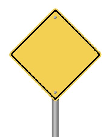 empty street: blank yellow warning sign on white background Stock Photo