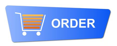 Blue order button with a shopping cart on white background. photo