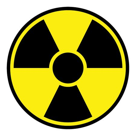 Round radiation warning sign on white background photo