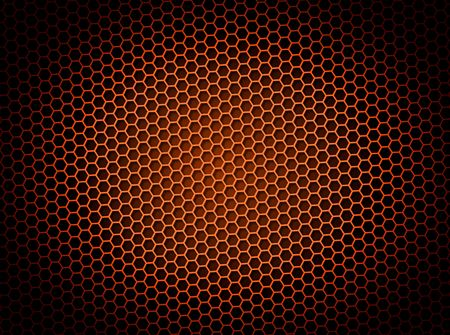 Red honeycomb background 3d illustration or backdrop with light effect