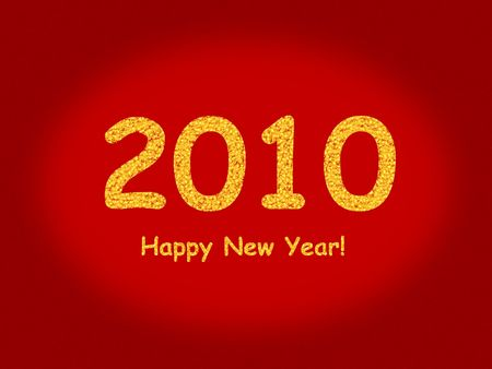 newyear: 2010 Happy New Year with a red background Stock Photo