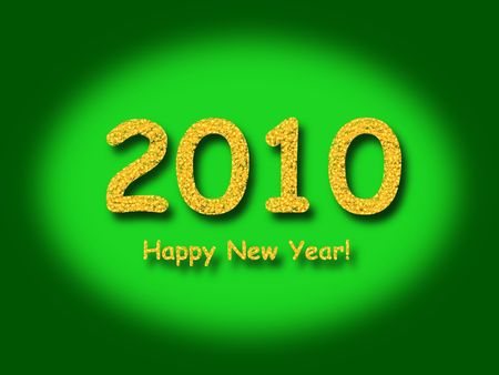 newyear: 2010 Happy New Year with a green background Stock Photo