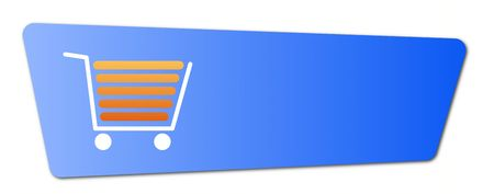 Blue shopping cart  button with a shopping cart on white background. Stock Photo - 5944605