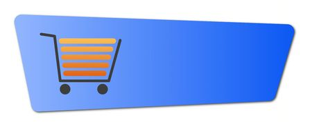 Blue shopping cart  button with a shopping cart on white background.