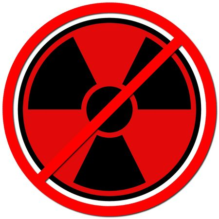 nuke: Red sign against radiation on white background.