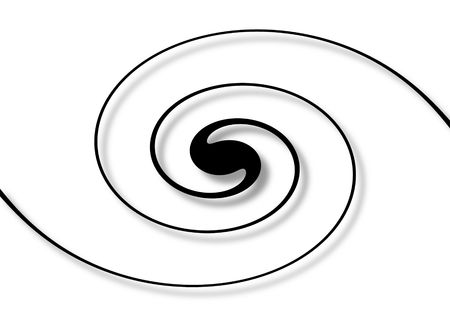 balck: Balck spiral with shadow on a white background