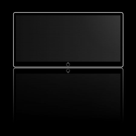 lcd screen: black and white wide screen on black background