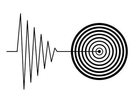 earthquakes: black tremor earthquake sign on white background