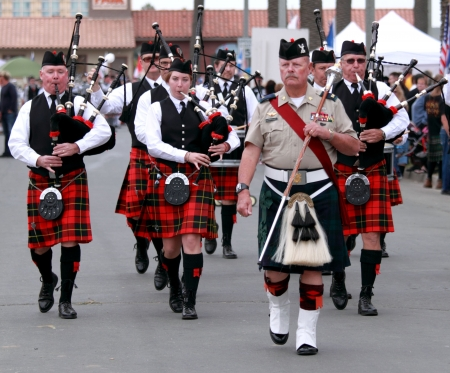 parade: EDITORIAL ONLY  VENTURA, CA, USA - October 11, 2009 - Bagpipe bands participating in a parade at the Ventura Seaside Highland Games October 11, 2009 in Ventura, CA