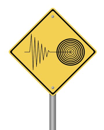 blank yellow tremor warning sign on white background
