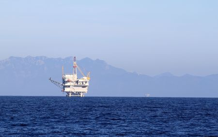 an offshore oil drilling platform near Ventura California Stock Photo