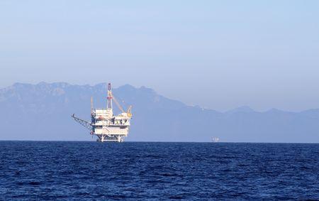 an offshore oil drilling platform near Ventura California photo