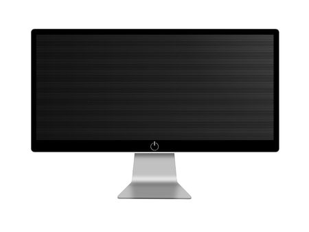 flat screen tv: black and white wide screen on white background Stock Photo