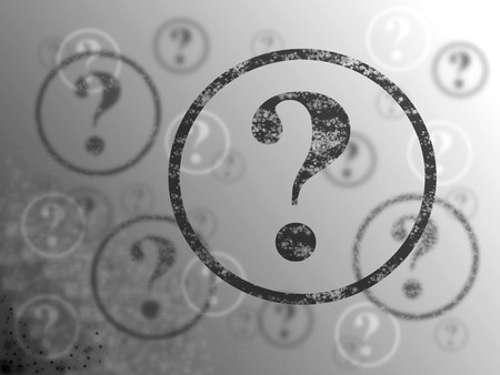 questionable: Blue and white background with many question marks Stock Photo