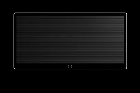 black and white wide screen on black background