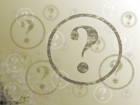 Blue and white background with many question marks photo
