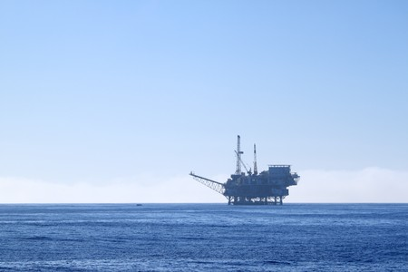oilwell: an offshore oil drilling platform near Ventura California Stock Photo