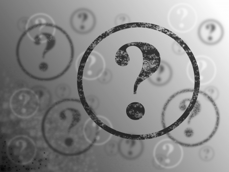 to mark: Blue and white background with many question marks Stock Photo
