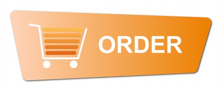 Buy now button with a shopping cart on white background. Stock Photo - 7827270