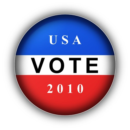 Red white and blue vote button for 2010 Stock Photo - 8115082