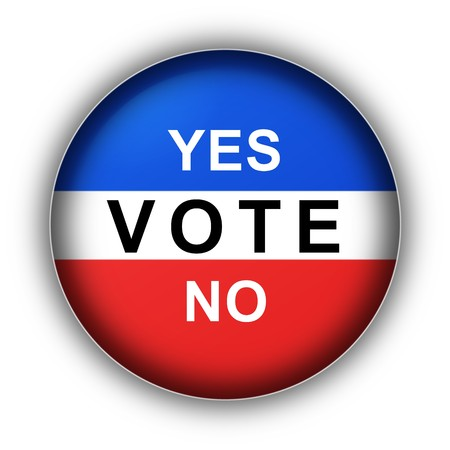 Red white and blue vote button Yes Vote No photo