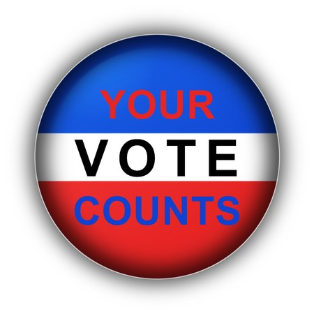 yes or no: Red white and blue vote button Your Vote Counts