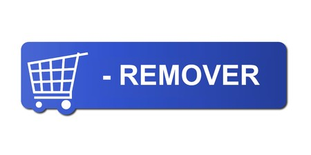 Remover button with a shopping cart on white background.