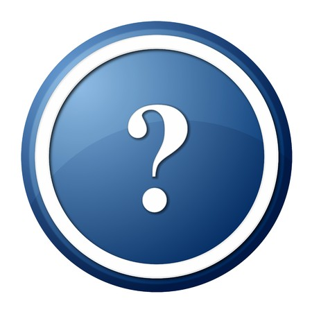 website buttons: round question mark button with white ring for web design and presentation