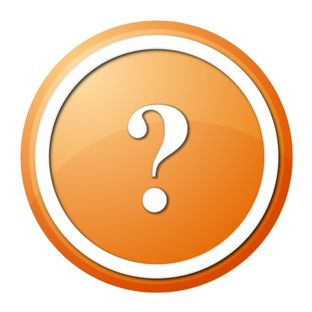 round question mark button with white ring for web design and presentation photo
